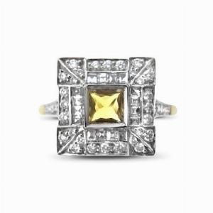 Yellow Sapphire and Diamond Deco Style Ring 0.50ct